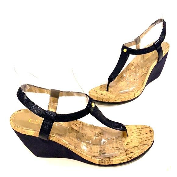 2958dee0917 Chaps Shoes - CHAPS Blue Cork Wedge Sandal Size 10